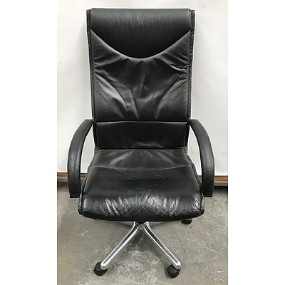 Schmidt Black Leather Office Chair