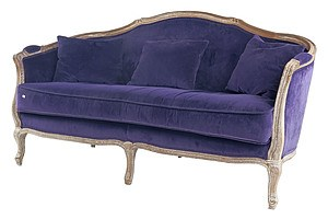 Fabulous Vintage Louis Style Limed Oak and Purple Velvet Upholstered Sofa
