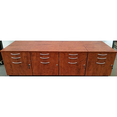 Walnut Veneer Pedestal Drawer Units - Lot of Four
