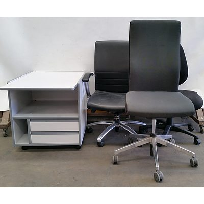 Printer Table and Three Gaslift Chairs
