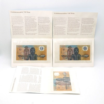 Three Consecutively Numbered 1988 Australian Bicentennial Commemorative $10 Notes AA09002446 -AA09002448