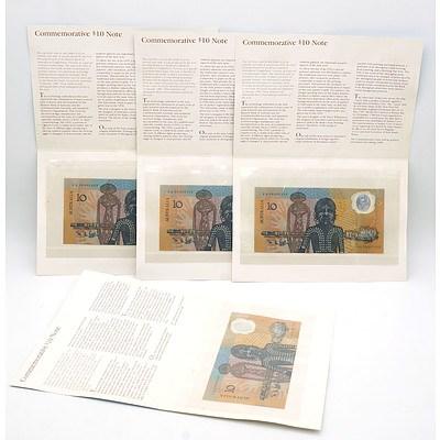 Four Consecutively Numbered 1988 Australian Bicentennial Commemorative $10 Notes AA09002453 -AA09002456