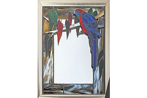 Stained Glass Framed Mirror With Crimson Rosella