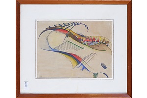In the Style of Robert Klippel and Wassily Kandinsky, Untitled Abstract Composition, Black Ink and Watercolour