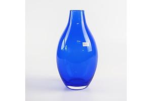 Vintage Hand Blown Blue Glass Vase, Probably Scandinavian
