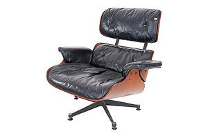 Charles Eames Moulded Ply and Leather Upholstered Lounge Chair, Purchased From 'Nova D Interiors' Wellington NZ 1970