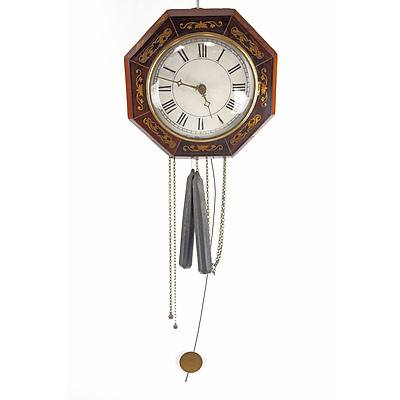 Antique Brass Inlaid Brazilian Rosewood Wall Clock, Late 19th Century