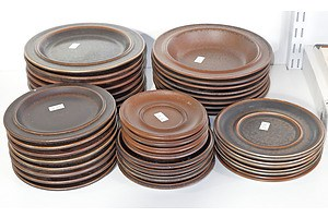 Various Arabia Stoneware Dishes And Plates