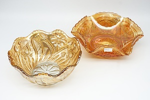 Two Vintage Marigold Carnival Glass Bowls