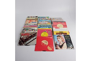 Quantity of Approximately 50 Vinyl 7 Inch Records Including Madonna, ABBA, Aretha Franklin and More