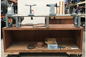 Elu Wood Turning Lathe On Custom Cabinet