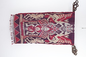 Vintage Indonesian Woven Ikat with Carved Hanger