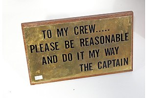 Brass Plaque Mounted On Teak Backing