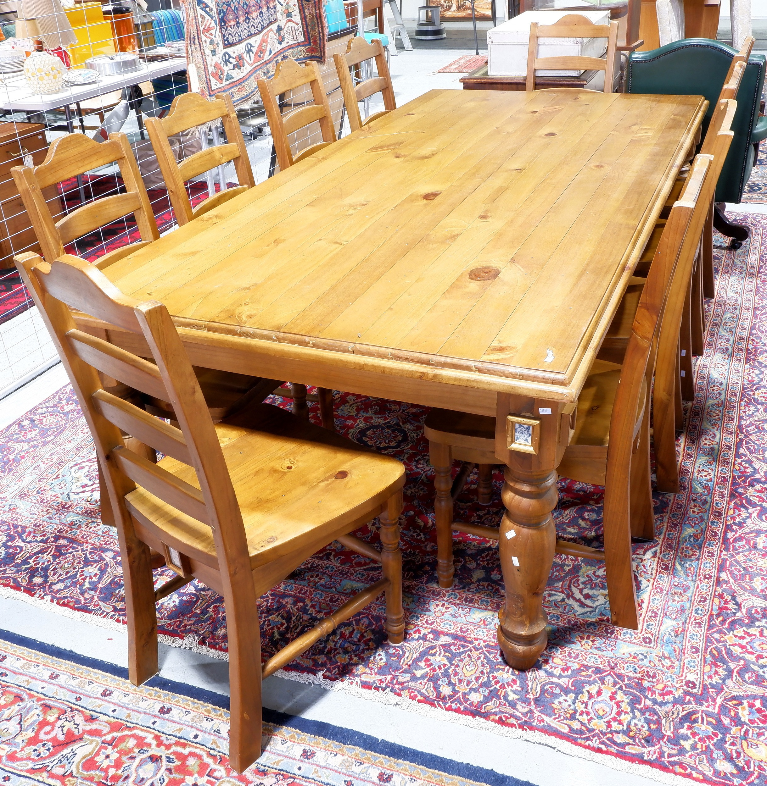 Picture of: Large Country Style Pine Dining Lot 1152693 Allbids