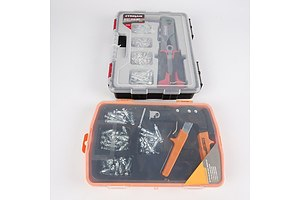 New Trojan 101 Piece Rivet Gun Set in Case and New Craft Right 58 Piece Hollow Wall Anchor Set