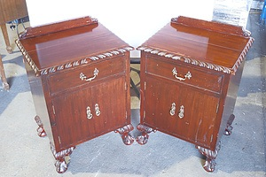 Pair of Vintage Chippendale Style Carved Bedside Cupboards
