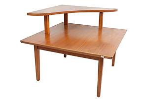 Mid Century Teak Two Tier Corner Table