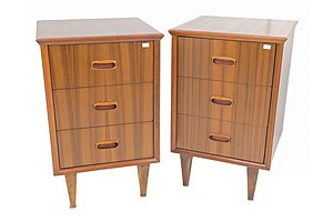 Pair of Mid Century Walnut Veneer Bedside Cabinets