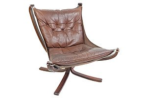 Low Back Sigurd Ressell Laminated Ply and Tan Leather 'Falcon' Chair Circa 1970