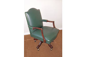 Antique Style Leather Upholstered Desk Chair