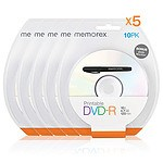 Memorex (5 Pack) Printable White Top DVD-R 4.7G 16x 10PCs Pack with Bonus Mark Pen - with Warranty