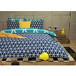 Ardor Cronombie Queen Teal 100% Cotton Reversible Printed Quilt Set - RRP $159.95 - Brand New
