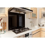 Toughened 90cm x 75cm Black Glass Kitchen Splashback