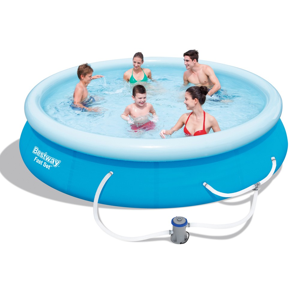 Bestway above ground fast set swimming lot 896230 allbids for Swimming pool accessories