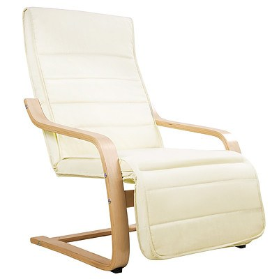Fabric Rocking Arm Chair with Adjustable Footrest - Beige - Free Shipping