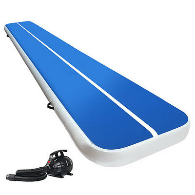 Everfit 5X1M Inflatable Air Track Mat 20CM Thick with Pump Tumbling Gymnastics Blue - Brand New - Free Shipping