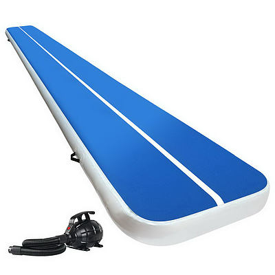 Everfit 6X1M Inflatable Air Track Mat 20CM Thick with Pump Tumbling Gymnastics Blue - Brand New - Free Shipping