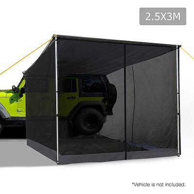 2.5X3M Car Awning & Mesh Screen - Grey - Free Shipping