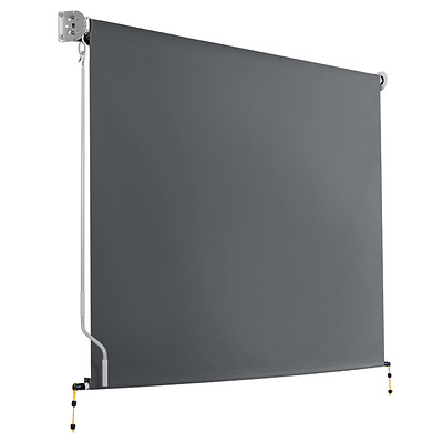 2.1m x 2.5m Retractable Roll Down Awning - Grey - Brand New - Free Shipping