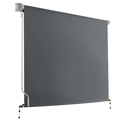 2.4m x 2.5m Retractable Roll Down Awning - Grey - Brand New - Free Shipping