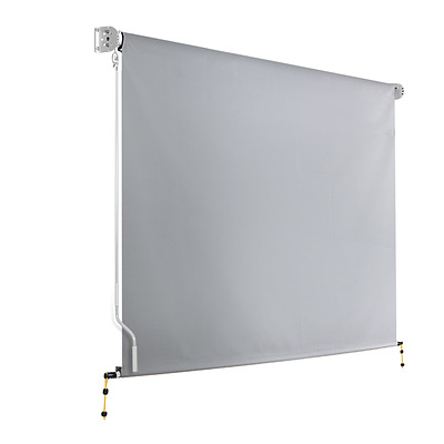 3m x 2.5m Retractable Straight Drop Roll Down Awning - Grey - Free Shipping