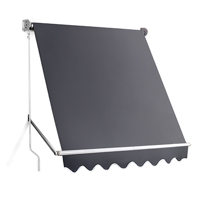 Instahut 1.8m x 2.1m Retractable Fixed Pivot Arm Awning - Grey - Free Shipping