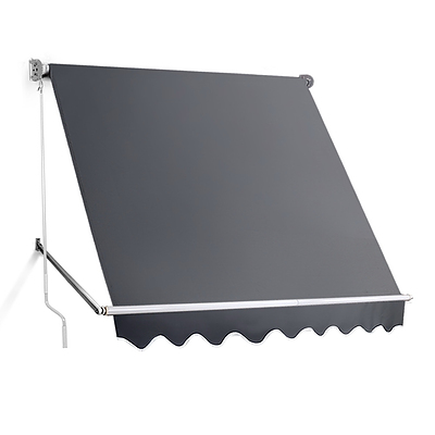 2.1m x 2.1m Retractable Fixed Pivot Arm Awning - Grey