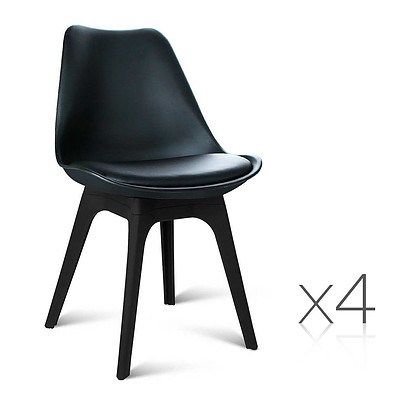 Set of 4 Replica Eames DSW PU Leather Chair Black - Brand New - Free Shipping