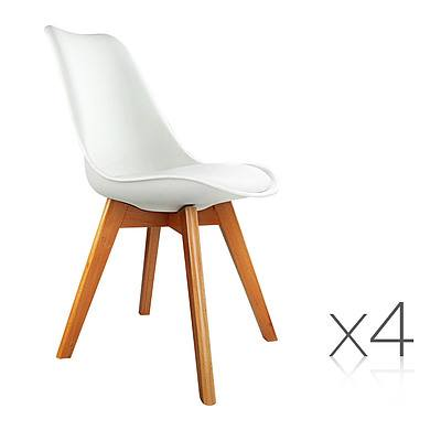 Set of 4 Padded Dining Chair - White