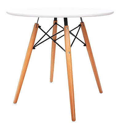 Round Wooden Dining Table - White - Free Shipping