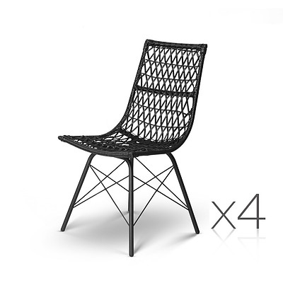 Set of 4 Rattan Dining Chair Black - Brand New - Free Shipping