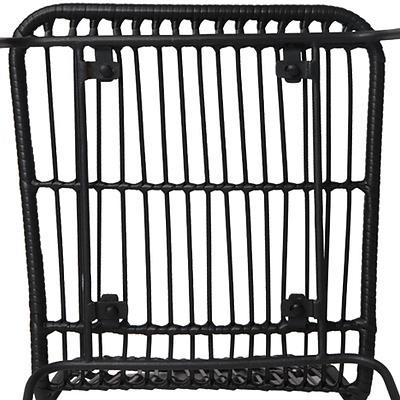 Set of 2 PE Wicker Dinign Chair - Black - Free Shipping