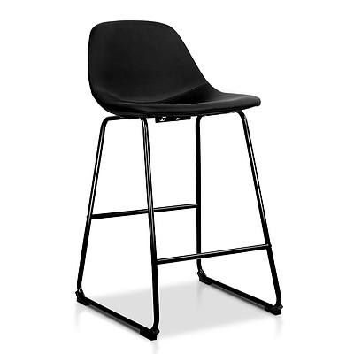 Artiss Set of 2 PU Leather Crosby Bar Stools - Black - Free Shipping