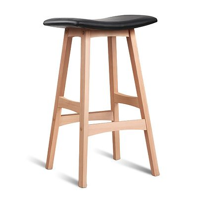 Artiss Set of 2 Beech Wood Bar Stools - Black - Free Shipping
