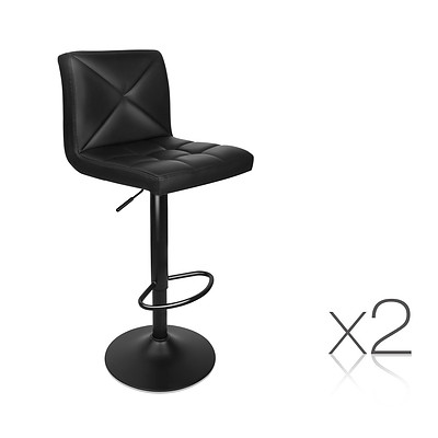 Set of 2 PU Leather Gas Lift Bar Stools - Black - Free Shipping