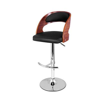 PU Leather Wooden Kitchen Bar Stool Padded Seat Black - Brand New - Free Shipping