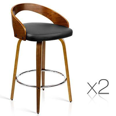Set of 2 PU Leather Bar Stool with Chrome Footrest Black - Brand New - Free Shipping
