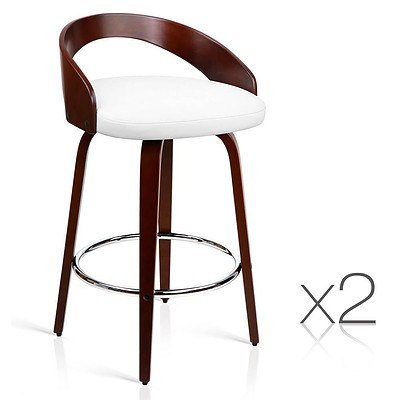 Set of 2 PU Leather Bar Stool with Chrome Footrest White - Brand New - Free Shipping