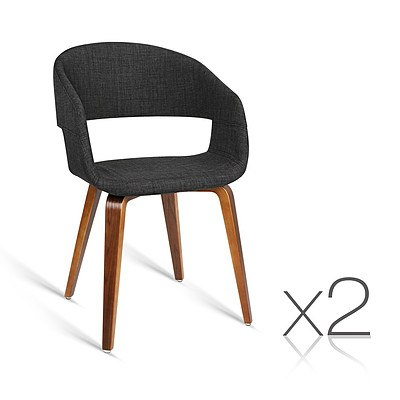 Set of 2 Timber Wood and Fabric Dining Chairs - Charcoal - Free Shipping