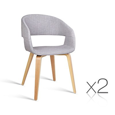 Set of 2 Timber Wood and Fabric Dining Chairs - Light Grey - Free Shipping